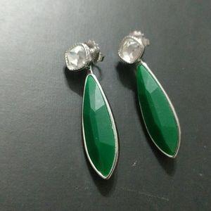 Lia Sophia Green and Clear Rhinestone Earrings
